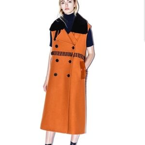 Phillip Lim Shearling Wool Maxi Vest Jacket Coat